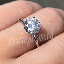 8 MM White Moissanite Engagement Anniversary Ring Solitaire Solid 10k White Gold