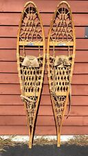 Vintage Pair Of Wooden SNOCRAFT Norway Maine Snowshoes Log Cabin Home Decor 49""
