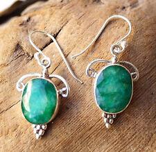 Smaragd Ohrhänger 4 cm Silber Handarbeit Modern Verspielt Floral Grün Ohrringe
