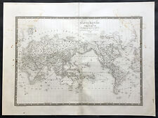 1821 Brue Large Antique World Map of Mercators Projection - New Holland, Texas