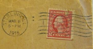 1915 ENVELOPE WITH 2 CENT WASHINGTON RED STAMP, STERLING, ILL. WAVY POSTMARK