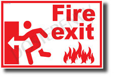 Fire Exit Left - NEW Laboratory or Classroom Fire Safety Poster (ms315)