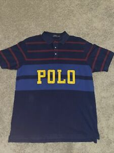 Polo Ralph Lauren The Mesh Knit POLO Spellout Polo Shirt SS Striped size 2XLT
