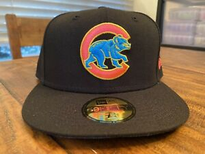 Chicago Cubs Black Pink Blue Glow Undervisor New Era Fitted Hat 7 3/4
