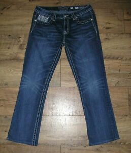 NEW WOMENS BUCKLE MISS ME MID RISE BOOT THICK STITCH MP7712B BLUE JEANS W31 I29