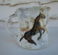 Vintage NEHER Studio Art Horse Pottery Big Coffee Mug Clay in Motion Series 2000