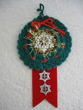 Green Crochet Wreath Gold Tinsel Silver Snowflake Red Ribbon Snowflakes Ornament