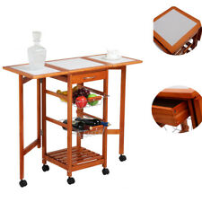 Portable Folding Rolling Wood Kitchen Island Trolley Cart Dining Storage Drawers