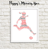 Personalised Girls Women's Football Presentation Word Art Gift Print ANY COLOURS