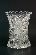 Beautiful Vintage Cut Crystal Glass Vase Artist Signed
