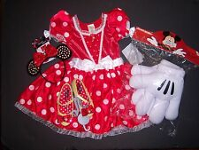 NWT Disney Minnie Mouse S 5-6 Red Costume Dress Ears Headband Mitt Gloves Shoes