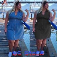 Women Jumpsuit Denim Overalls Jeans Denim Dress Zip Pleated Plus Size Casual US