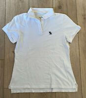 Abercrombie & Fitch Women's Polo T Shirt White Large Cotton Blend