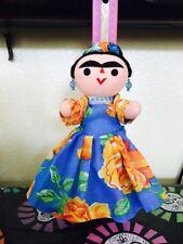 Mexican Handmade Cloth Rag Doll Frida Kahlo Folk Art Oaxaca Muneca De Trapo