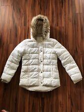 Girls Puffer Jacket Cream Lined Winter Coat Size 14 XL