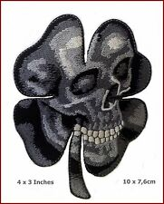 VELC. Irish Clover Shamrock Camo Grey Skull Biker Celtic Patch 10x7,5cm Fastener