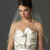 white/ivory Wedding Bridal Veil With Comb Elbow Length Rhinestone Edge Tulle
