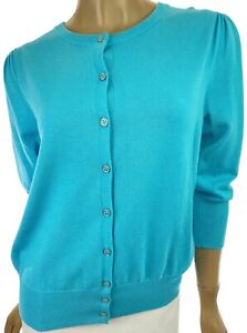 Jeanne Pierre Light Blue Cardigan Sweater Buttons Size S Gathered at Shoulder