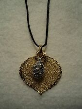 GENUINE ROCKY MOUNTAIN DOUBLE NECKLACE WITH GOLD ASPEN LEAF AND SILVER PINECONE