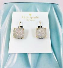 New Kate Spade Cushion Square Opal Glitter Lever Back Gold tone Earrings