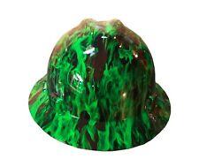 Hydrographic Green Fire MSA V-Guard Full Brim Hard Hat