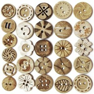 Laser Design Round Sewing Buttons Coconut Shell Materials DIY Sewing Accessories