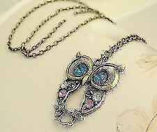 New Retro Fashion Vintage Rhinestone Crystal Big OWL Pendant Long Chain Necklace