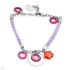 CHOICE BY CHIMENTO STAINLESS STEEL & LAVENDER LEATHER BRACELET & EARRINGS