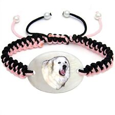 Great Pyrenees Dog Mother Of Pearl Natural Shell Adjustable Knot Bracelet BS259