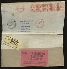 INDIA PARCEL POST METER FRANKING 1940 +Customs Docket