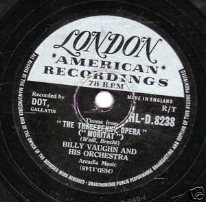 1956 UK #12 BILLY VAUGHN 78 theme from the THREEPENNY OPERA LONDON HLD 8238 E/E-