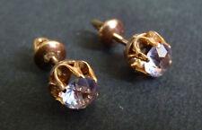 Boucles clous d'oreille dormeuses OR massif 18 k + améthyste gold earrings