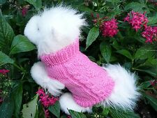 XXS handmade knit Pink/Blue dog sweater