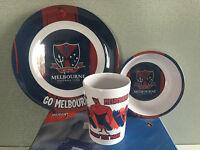 BNIB Official AFL Merchandise Melbourne Demons Kid Plate Bowl & Cup Melamine Set