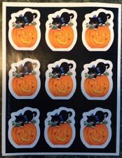 Vintage 80s Hallmark Halloween Sticker Sheet~Black Cat & Pumpkins~Jack-O-Lantern