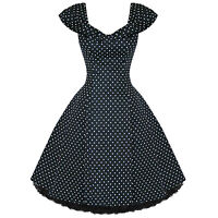 Womens Ladies New Vintage 1950s Vtg Black Polka Dot Party Prom Evening Dress UK