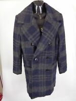 WOMENS H&M BLUE/GREY BUTTON UP FORMAL COAT JACKET SIZE 12