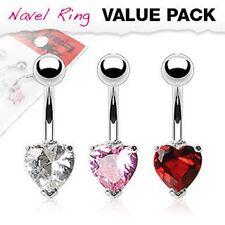 Prong Set Navel Belly Rings 14G 10mm 3pcs Set Assorted Colors Heart Shape Cz Gem
