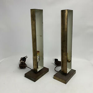 Pair (2) Vintage 1976 Mid Century Chapman Brass Table Lamps Art Deco
