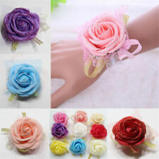 Women Wedding Wrist Corsage Bride Bridesmaid Hand Flower Wedding Decor Uk Seller