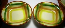 "2 Vintage Vernon Kilns Homespun 5 ½"" berry fruit  bowls Vernonware 1949-1958"