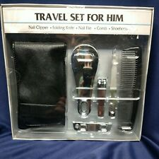 Trim Men's Travel Grooming Kit Set.  Clippers, knife , File, Comb, show horn NIP
