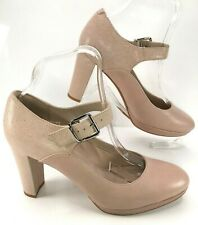 CLARKS Kendra Gaby Mary Jane Nude Pink Leather High Heel Court Shoes UK 7 EU 41