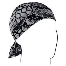 Snake Skin Python Grey Black Flydanna Deluxe Biker Durag Head Wrap Skull Cap