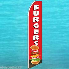 BURGERS FLUTTER FLAG Vertical Advertising Sign Feather Swooper Banner 25-3069