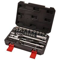 "Socket Set  Ratchet Tool Bit Set 52PC 1/4"" & 3/8"" 12 Point Extension Bar & Case"