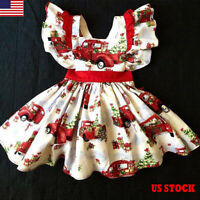 US Christmas Toddler Kids Baby Girl Festival Xmas Party Dress Dress Xmas Clothes