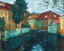 Beautiful Illegibly Signed Oil on Canvas of a Russian Cityscape Canal Scene