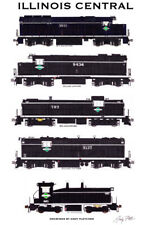 """Illinois Central 1960s-Era Locomotives 11""""x17""""  Poster by Andy Fletcher signed"""