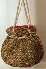 India Gold  Beadwork Sequin Drawstring Bag  Purse Red Satin Liner